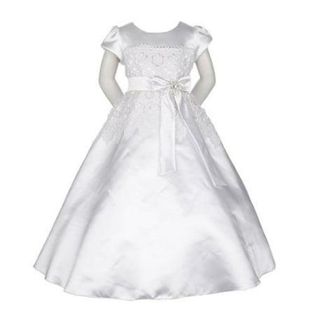 Silk Communion Dress (Little Girls White Satin Lace Trim Bow Sash Flower Girl Communion Dress)