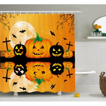 Halloween Decorations Shower Curtain, Spooky Carved Halloween Pumpkin Full Moon with Bats and Grave Lake, Fabric Bathroom Set with Hooks, 69W X 70L Inches, Orange Black, by Ambesonne - Grave Halloween Full