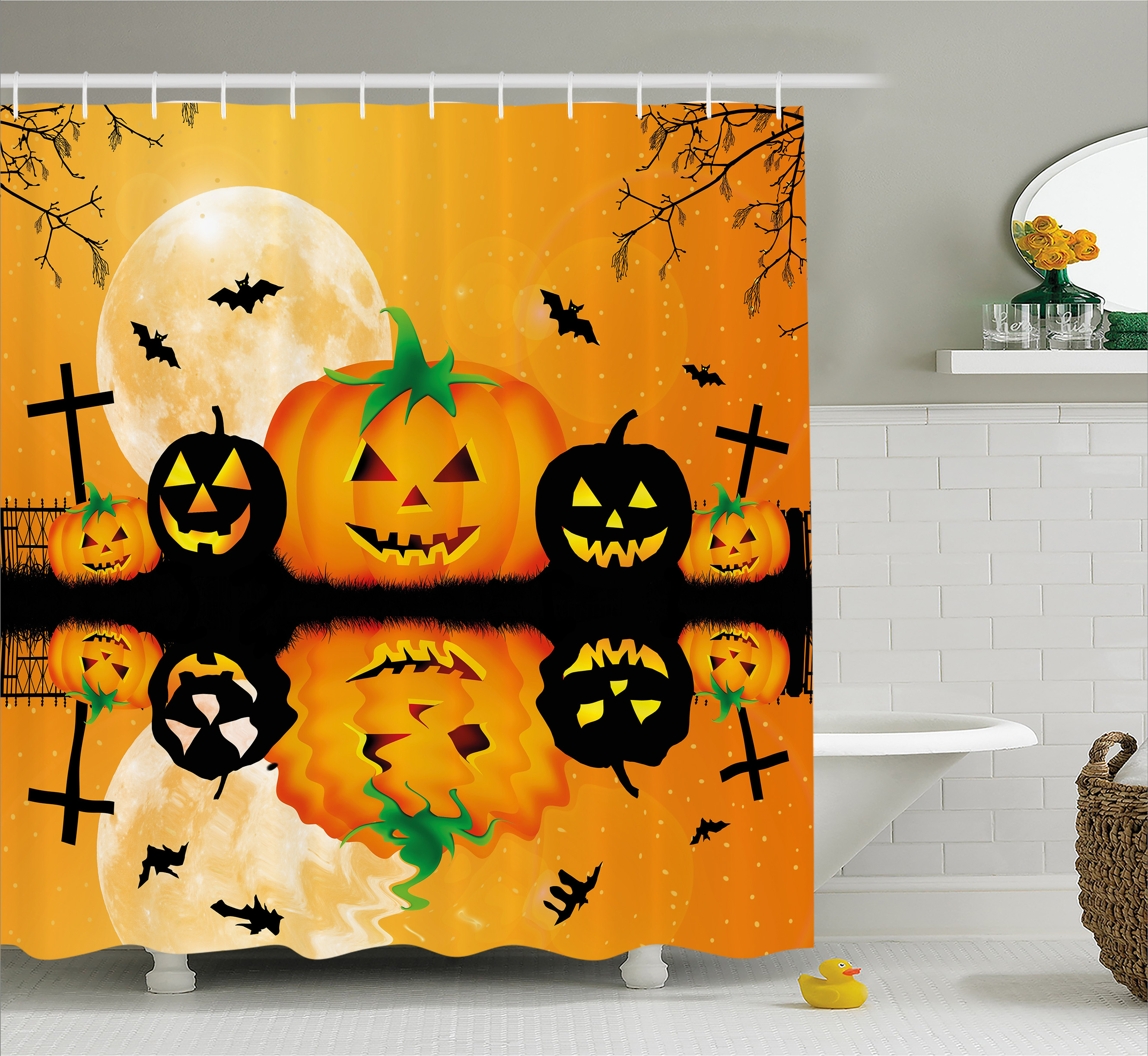Halloween Decorations Shower Curtain, Spooky Carved Halloween Pumpkin Full Moon with Bats and Grave Lake, Fabric Bathroom Set with Hooks, 69W X 70L Inches, Orange Black, by Ambesonne