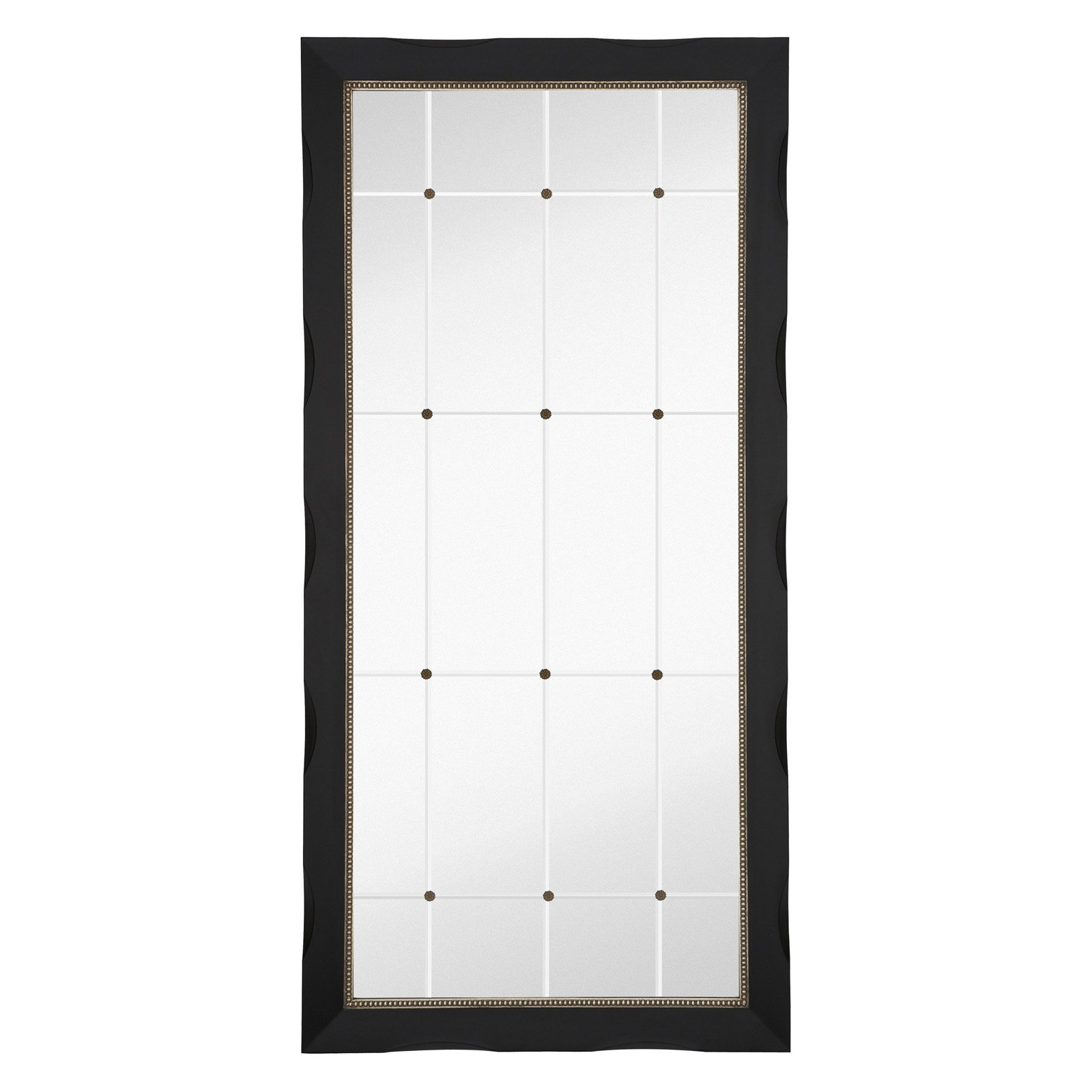 Majestic Black With Silver Lip Frame Floor Mirror by
