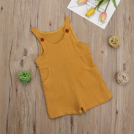 Baby Girl Cotton Romper Jumpsuit Sleeveless Sling Outfits Clothes