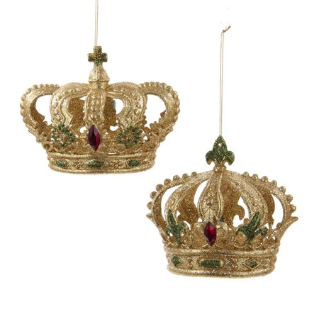 Club Pack Of 12 Gold Green And Red Glitter Crown