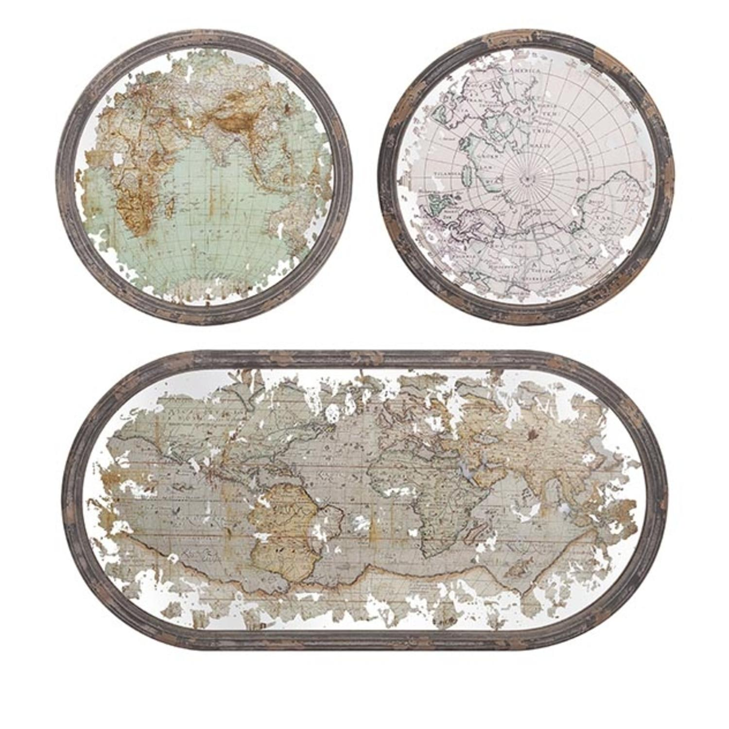 Round Wood Wall Art set of 3 antique style mirrored world map wood framed oval and