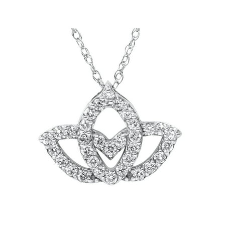 3/8ct Diamond Lotus Flower Pendant 14K White