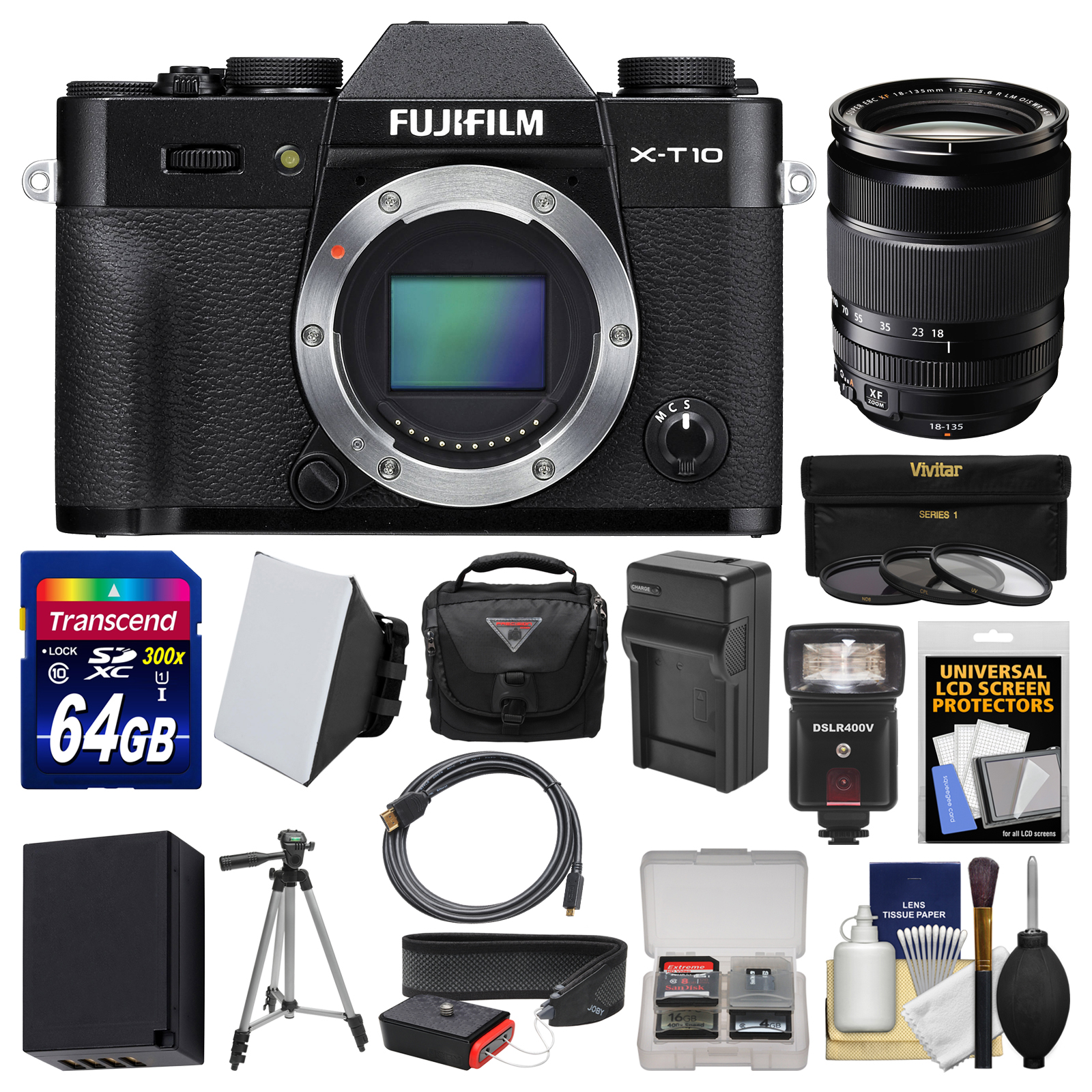 Fujifilm X-T10 Digital Camera Body (Black) & 18-135mm Lens with 64GB Card + Case + Flash + Soft Box + Battery & Charger + Kit