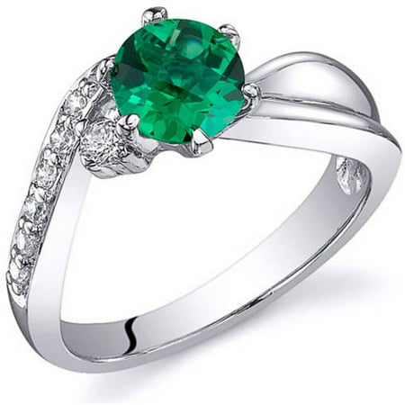 0.75 Carat T.G.W. Simulated Emerald Rhodium over Sterling Silver Ring