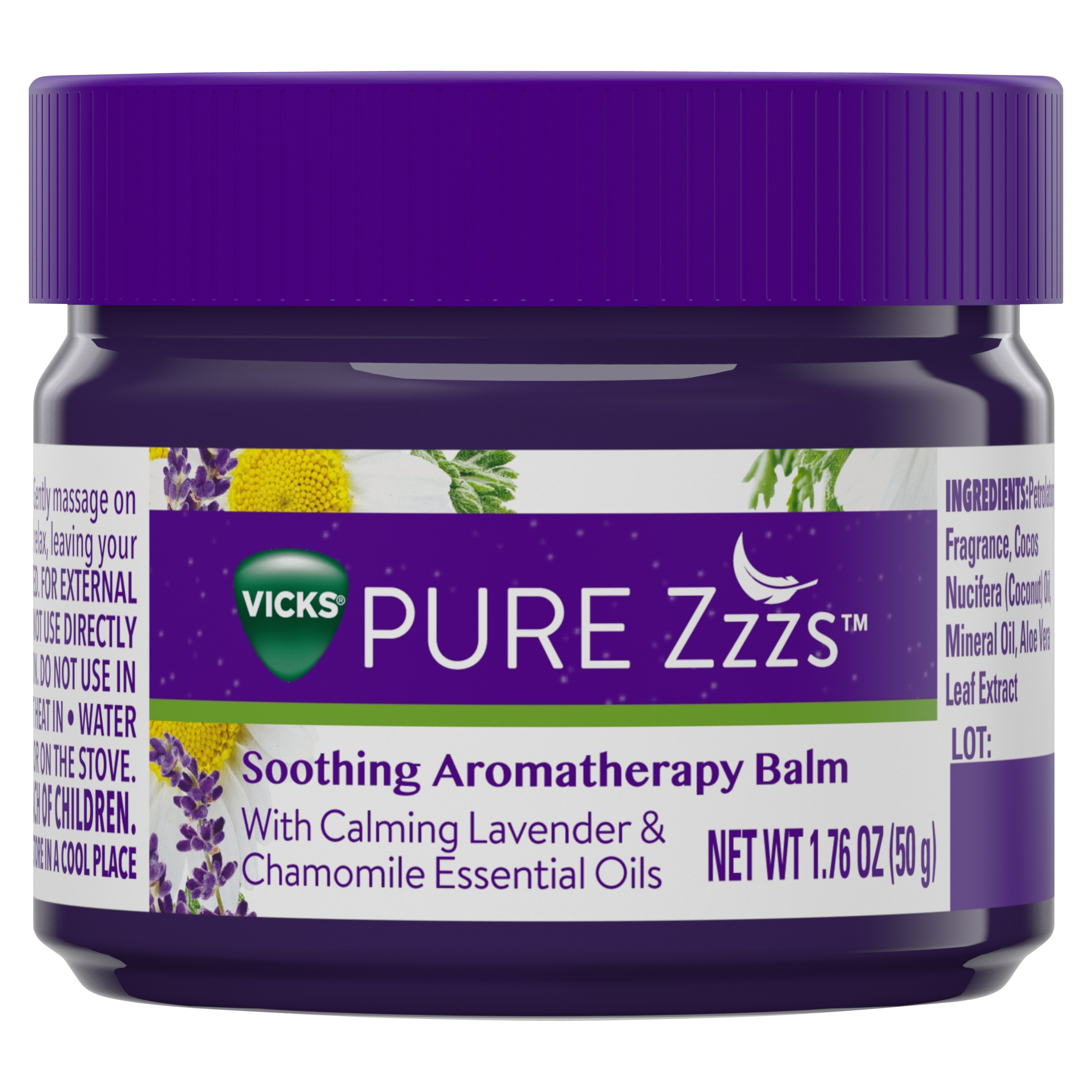 Vicks PURE Zzzs Soothing Aromatherapy Balm with Calming Lavender & Chamomile Essential Oils, 1.76 oz