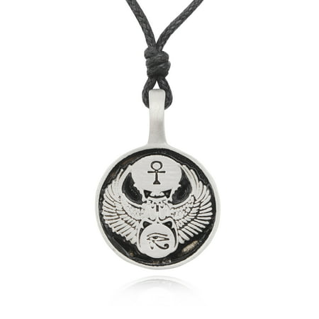 Scarab Pendant Jewelry (Egyptian Eye Of Horus Scarab Silver Pewter Charm Necklace Pendant Jewelry With Cotton Cord )
