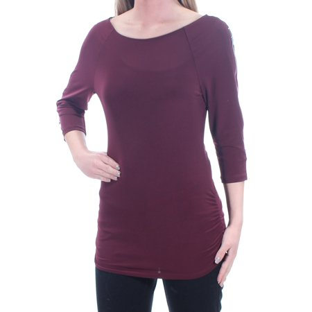 Ruched Zipper (INC Womens Burgundy Zippered Ruched 3/4 Sleeve Boat Neck Wear To Work Top  Size: XS )