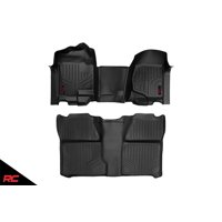 Rough Country Floor Liners compatible w/ 2007-2013 Chevy Silverado GMC Sierra Rugged Weather Floor Mats