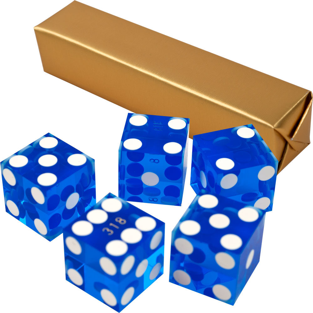 19MM A Grade Serialized Set Of Casino Dice-Blue