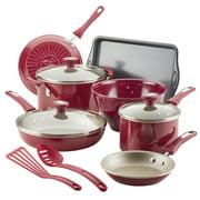 Rachael Ray 12-Piece Get Cooking! Nonstick Pots and Pans Set, Cookware Set, Burgundy