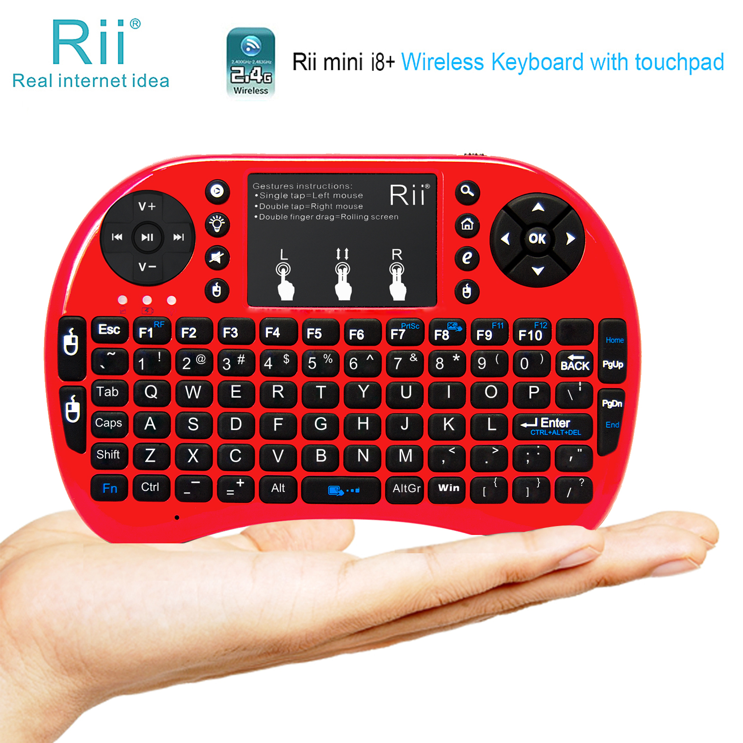 Rii mini i8+Wireless Keyboard with Touchpad,LED Backlit, Rechargable Li-ion Battery,Soft Silicone for KODI, Raspberry Pi 2/3,Mac OS,Linux,HTPC,IPTV,Android TV Box?Windows/BL