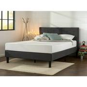 zinus upholstered diamond stitched platform bed with wooden slats - Platform Bed Frame King