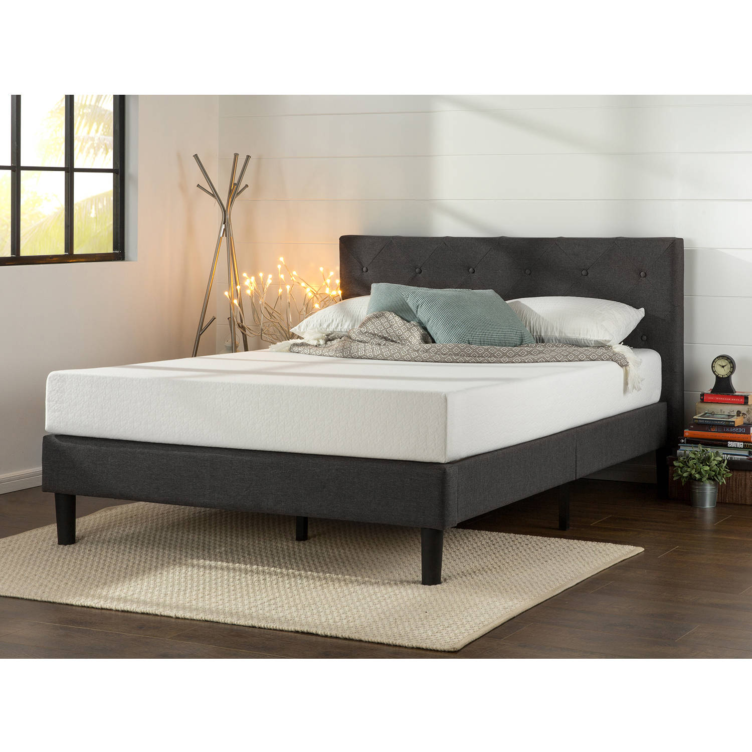 Zinus Upholstered Diamond Stitched Platform Bed, Multiple Sizes