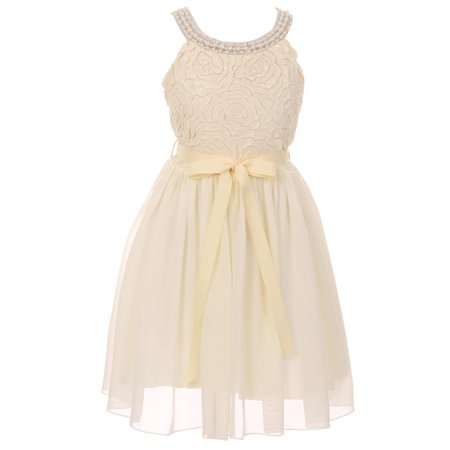 Little Girl Sleeveless Pearl Sequin Chiffon Graduation Wedding Flower Girl Dress USA Ivory 4 JKS 2121 BNY Corner](Flower Girl Dresses Chiffon Ivory)