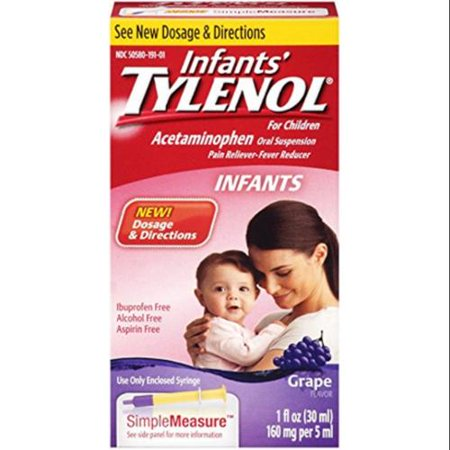 TYLENOL Grape Suspension orale de nourrissons Flavor 1 oz (Pack de 4)