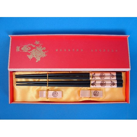 Chinese Chopsticks Set with Double Fishes and Good Blessings - Goody Chinese