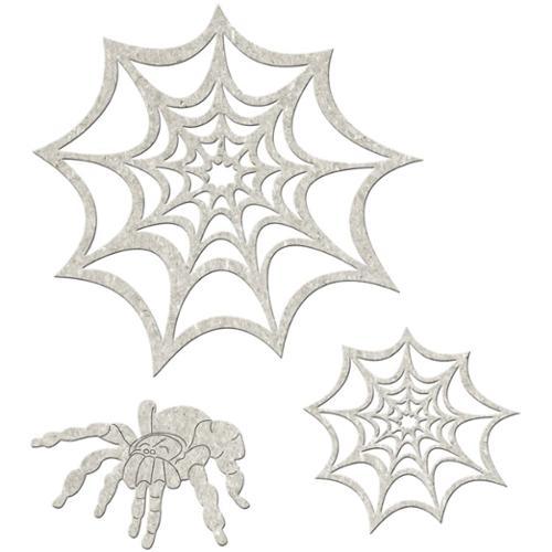 """Die-Cut Grey Chipboard Embellishments-Spider & Webs 3/Pkg, up to 5""""x3.8"""""""