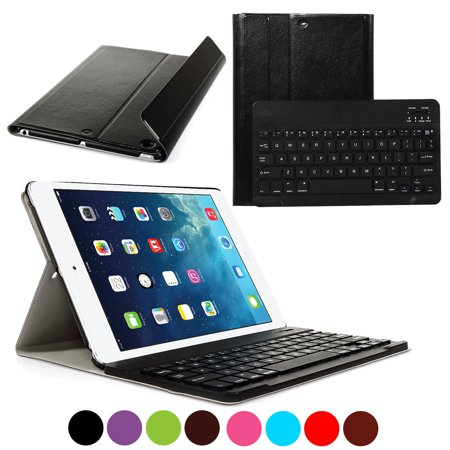 CoastaCloud Apple NEW iPad 2017 Wireless Bluetooth Keyboard 9.7 inch with Stand Folio Case Cover Rechargeable USB Cable Removeable Keyboard PU