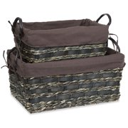 Rectangular Utility Basket with Faux Leather Handles - Set of Two