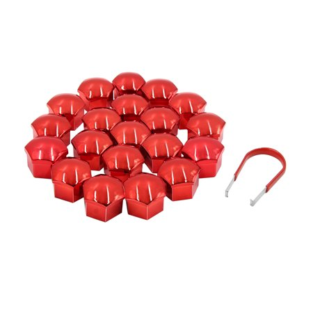 20pcs Red 19mm Car Wheel Lug Nut Cap Tyre Hub Screw Bolt Dust Cover Protector