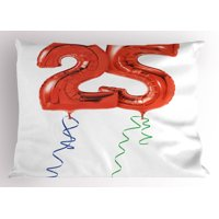 25th Birthday Pillow Sham Vivid Display of Party Balloons in Red with Colorful Ribbons Happiness, Decorative Standard Size Printed Pillowcase, 26 X 20 Inches, Red Blue Green, by Ambesonne