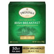 Twinings of London Irish Breakfast 100% Pure Black Tea Bags, 50 Ct., 3.53 oz.