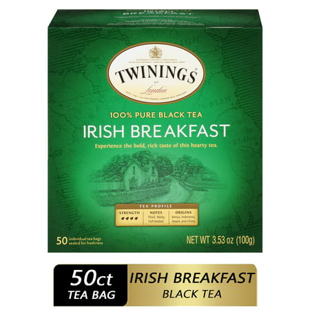 Twinings of London Irish Breakfast 100% Pure Black Tea Bags, 50 Ct., 3.53 oz.