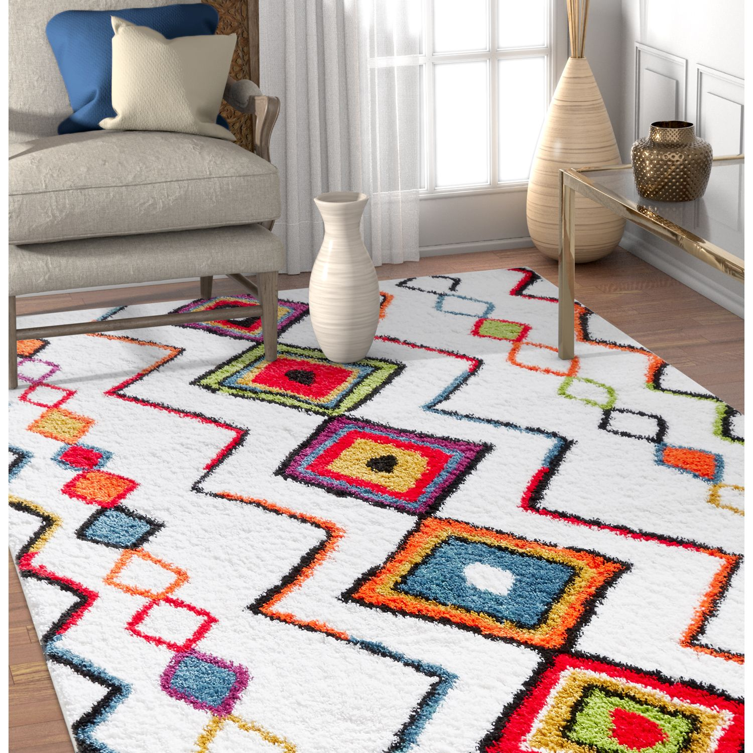 Well Woven Tribal Rhapsody Casablanca Moroccan Aztec Shag White Area Rug