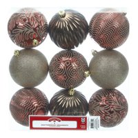 Holiday Time Shatterproof Ornaments, 9-Count, Red Brown Gold