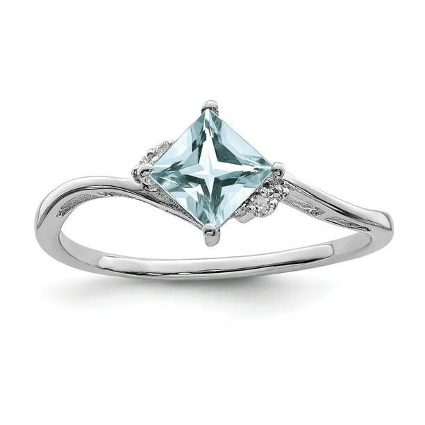 Sterling ring w Aquamarine /& Diamonds size 6,