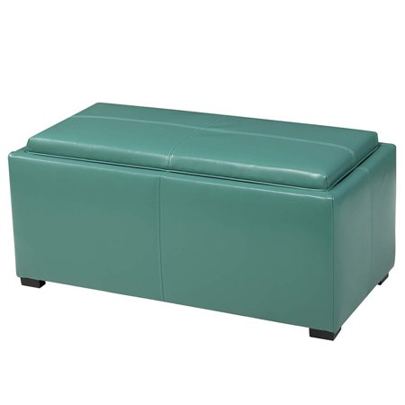 Outstanding Ghp Set Of 3 Turquoise Faux Leather Wood Hallway Storage Ottoman Bench W Cube Stools Andrewgaddart Wooden Chair Designs For Living Room Andrewgaddartcom