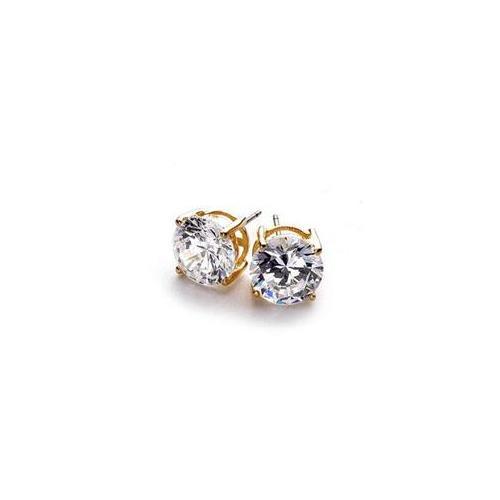 J Goodin E00245GS-S01 14k Gold Bonded to . 925 Sterling Silver 8mm CZ Stud Earrings in Goldtone