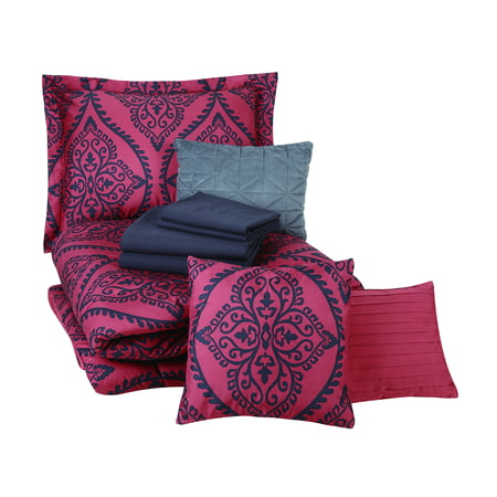 Mainstays Red And Black Damask Bed In A, Red And Black Damask Crib Bedding