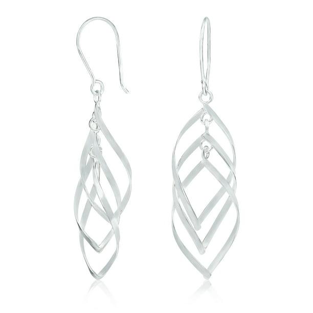 Multi Color Beads. Fish Hook Wires Vintage Sterling Silver Earrings Dangle