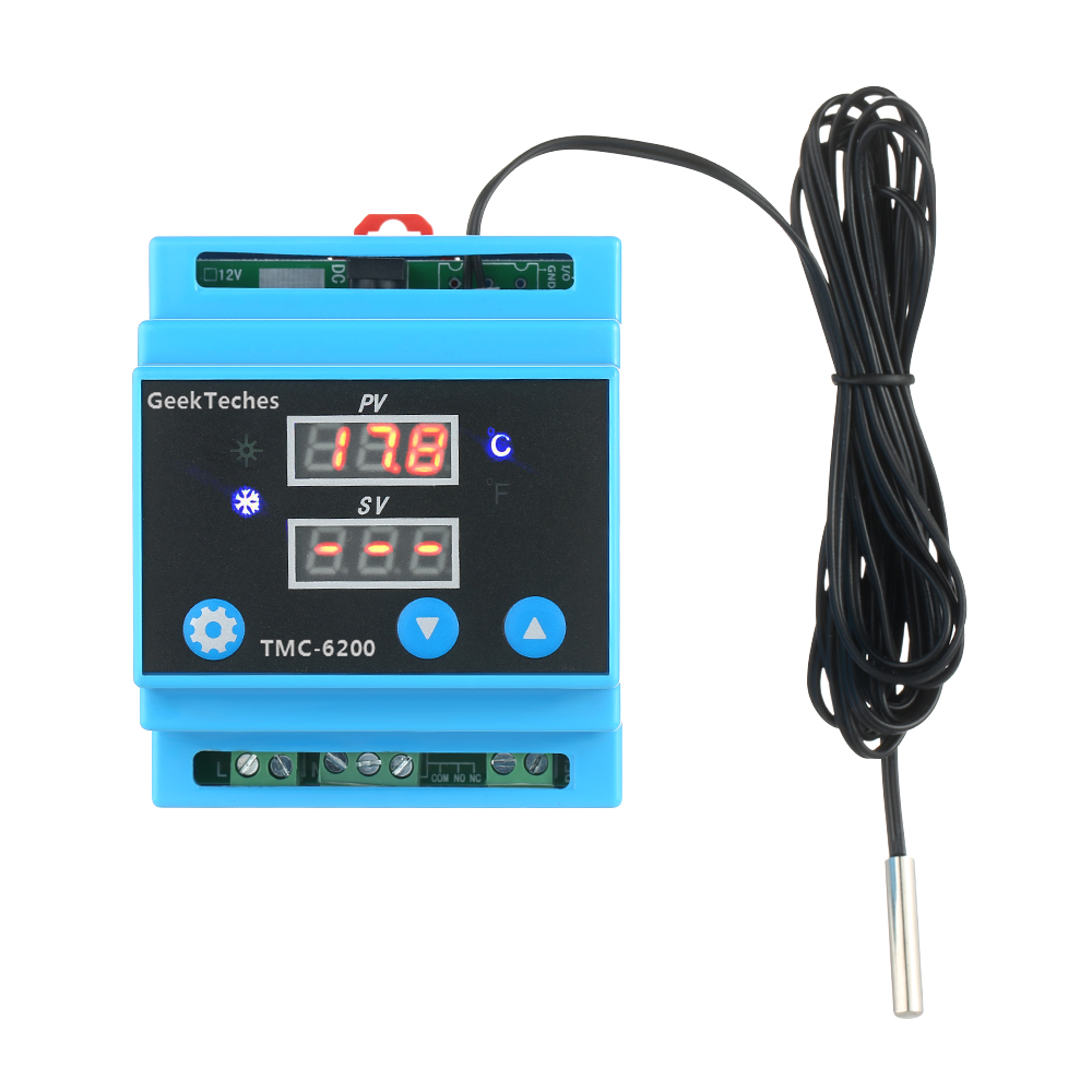 AC 100-240V Digital Guide Rail One Way Temperature Controller Cooling Heating Control with Alarm Function Temperature Probe