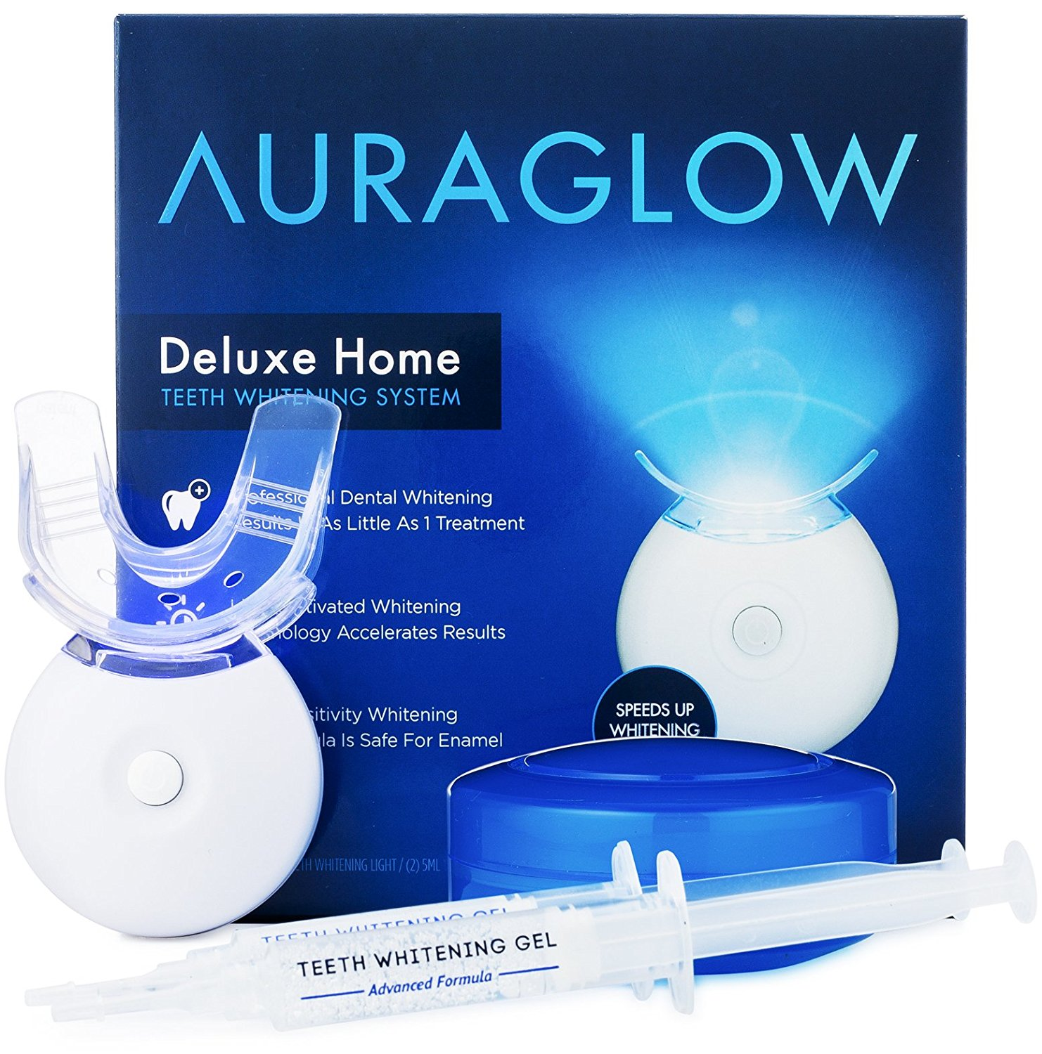 Auraglow Teeth Whitening Kit Led Light 35 Carbamide Peroxide 2 5ml Gel Syringes Tray And Case Walmart Com Walmart Com