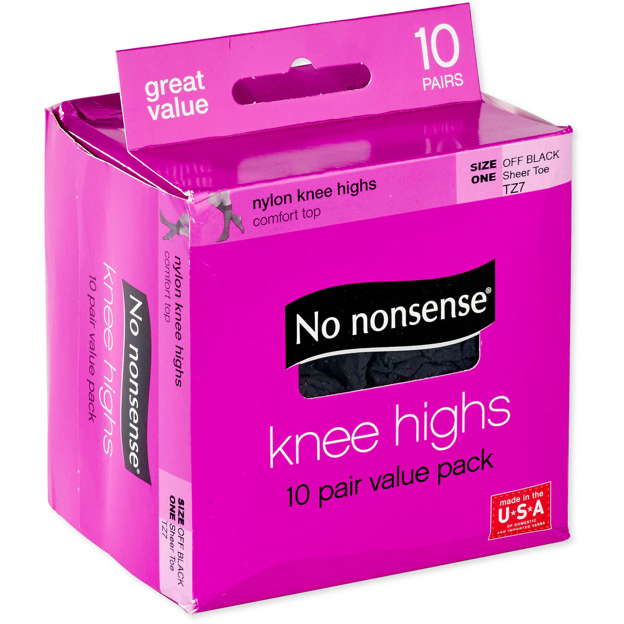 No nonsense Nylon Knee Highs Value Pack Off Black, Sheer Toe - 10 PR, 10.0 PR