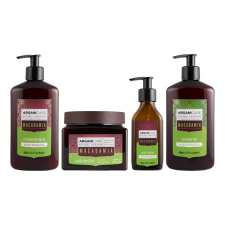 Arganicare Macadamia Shampoo, Conditioner, Serum and Masque Set for dry and damaged hair with Certified Oils of Argan and