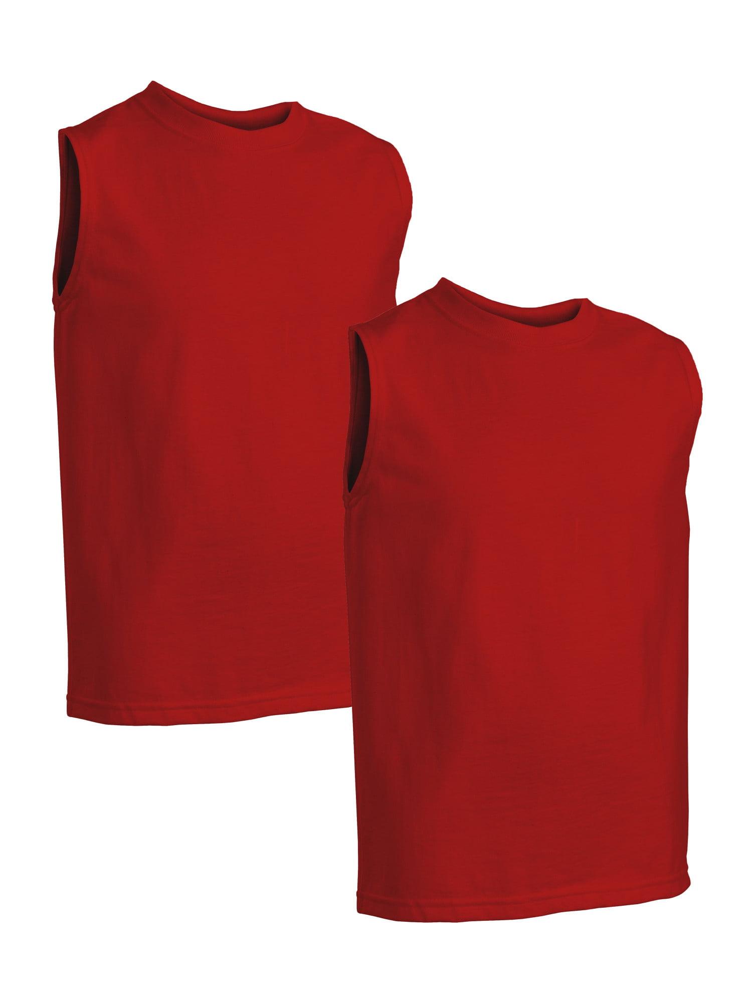 Fruit of the Loom Boys' Hemmed Armhole Sleeveless T-Shirts, 2 Pack