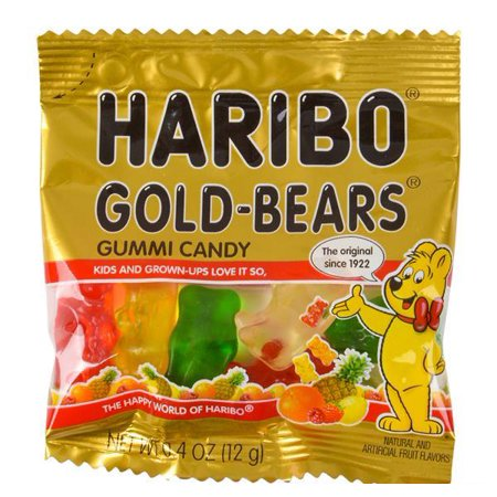 HARIBO MINI GOLD GUMMY BEAR 54PC TUB, Case of 4 - Gold Tux