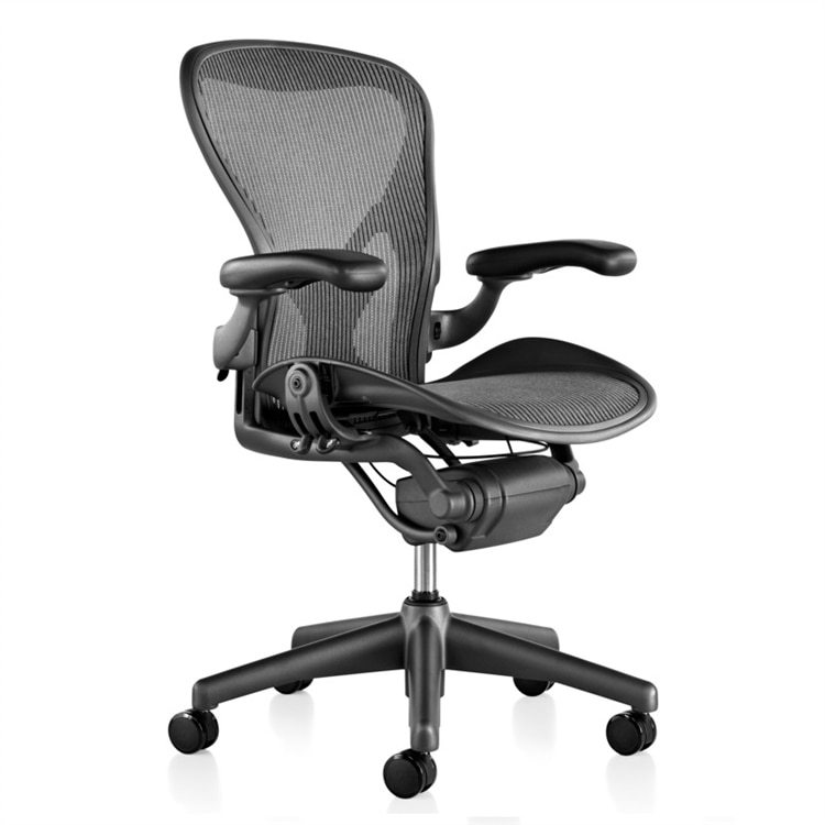 Herman Miller Aeron Chair Size B Fully Featured Gray W/Posturefit, Executive Office Chair