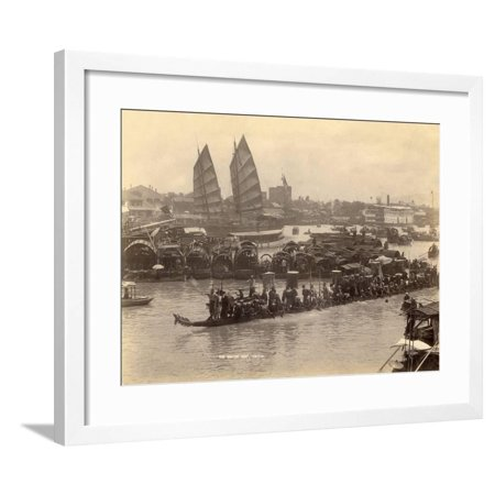 The River of Pearls in Canton (China) Framed Print Wall Art