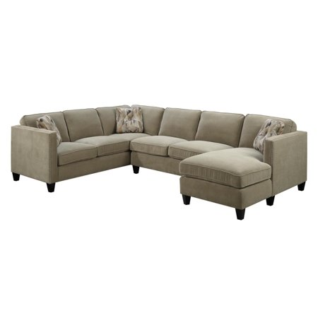 Surprising Emerald Home Focus Granite Sectional With Pillows Easy Clean Microfiber Upholstery Nailhead Trim And Straight Arms Cjindustries Chair Design For Home Cjindustriesco