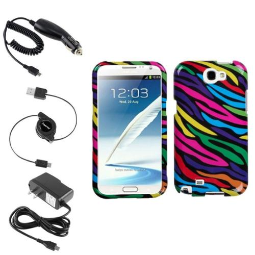 Insten Neon Zebra Hard Case Car Home Charger Cable For Samsung Galaxy Note 2 II
