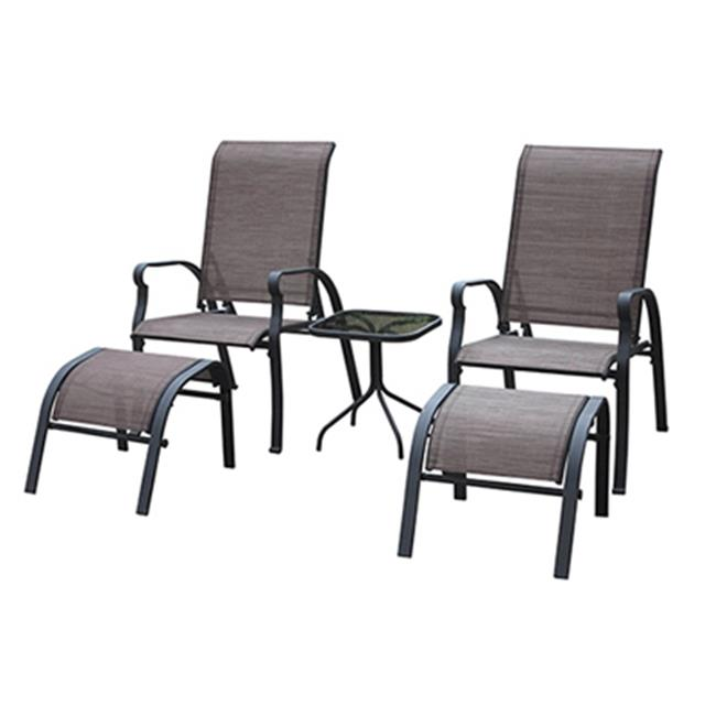 KTS7377 Verona Sling Chat Set - Brown, 5 Pieces