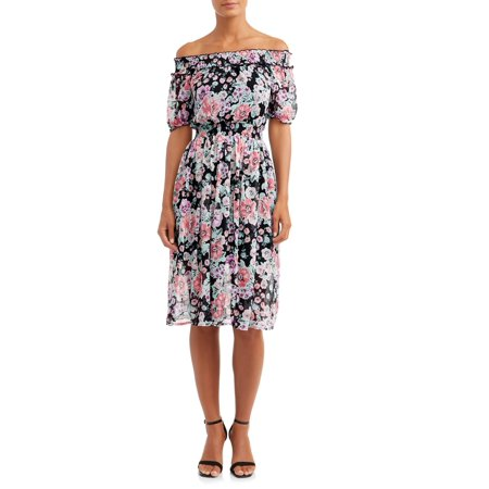 Women's Smocked Off the Shoulder Midi Dress - Silk Smocked Dress