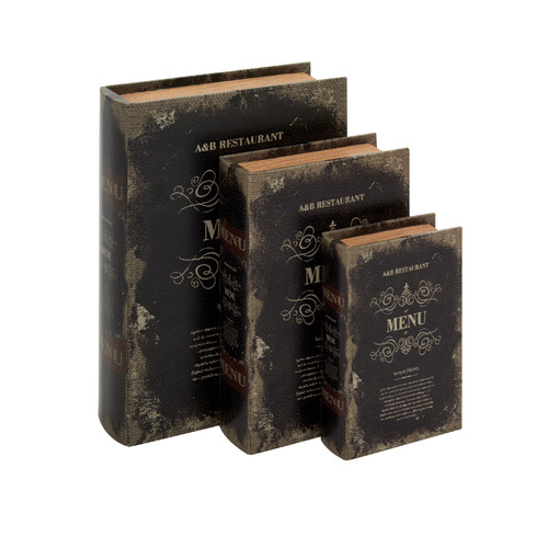 Woodland Imports 3 Piece Leather Book Box Set by Woodland Imports