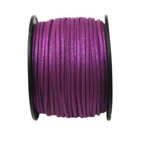 Faux Leather Suede Beading Cord, Metallic Orchid Purple (10 feet)